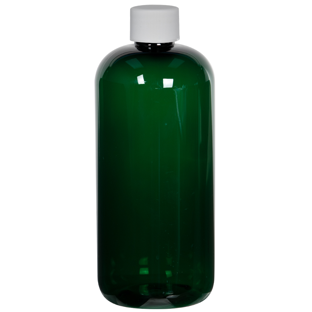 16 oz. Dark Green PET Traditional Boston Round Bottle with 28/410 Plain Cap with F217 Liner