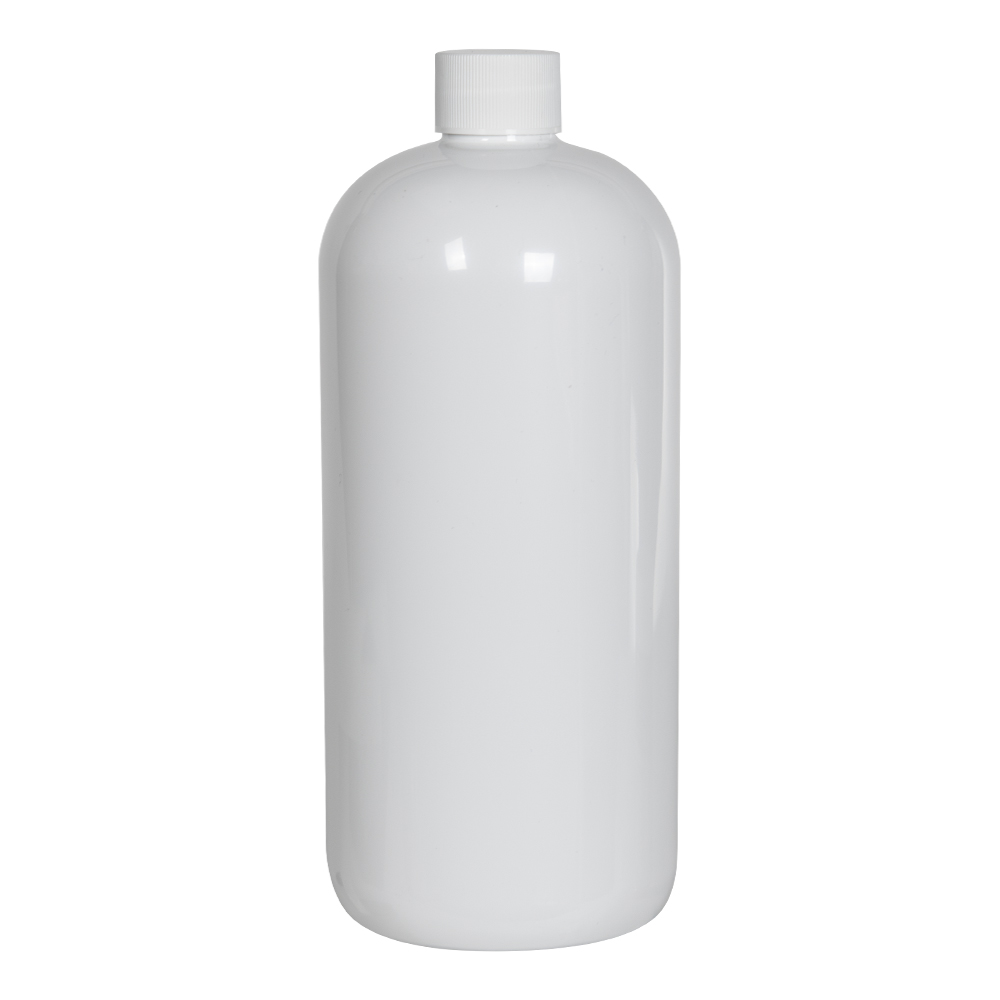 32 oz. White PET Traditional Boston Round Bottle with 28/410 Plain Cap