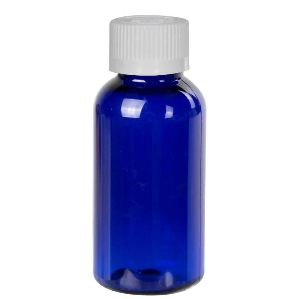 1 oz. Cobalt Blue PET Traditional Boston Round Bottle with 20/400 CRC Cap