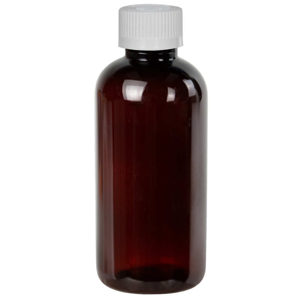 4 oz. Light Amber PET Traditional Boston Round Bottle with 24/410 CRC Cap