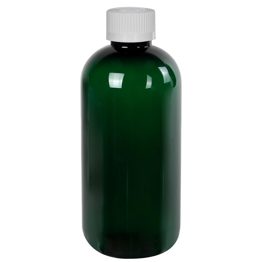 8 oz. Dark Green PET Traditional Boston Round Bottle with 24/410 CRC Cap
