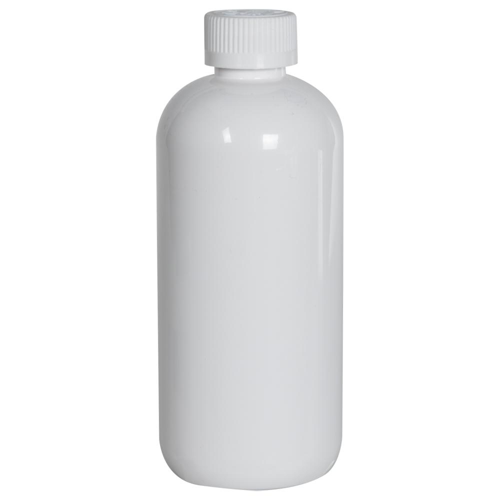 12 oz. White PET Traditional Boston Round Bottle with 24/410 CRC Cap