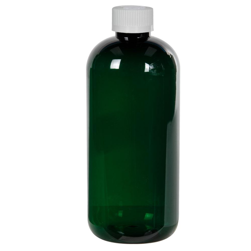 12 oz. Dark Green PET Traditional Boston Round Bottle with 24/410 CRC Cap