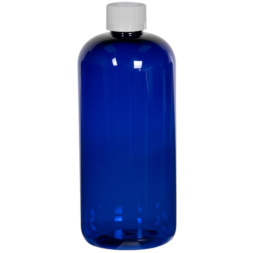 16 oz. Cobalt Blue PET Traditional Boston Round Bottle with 24/410 CRC Cap