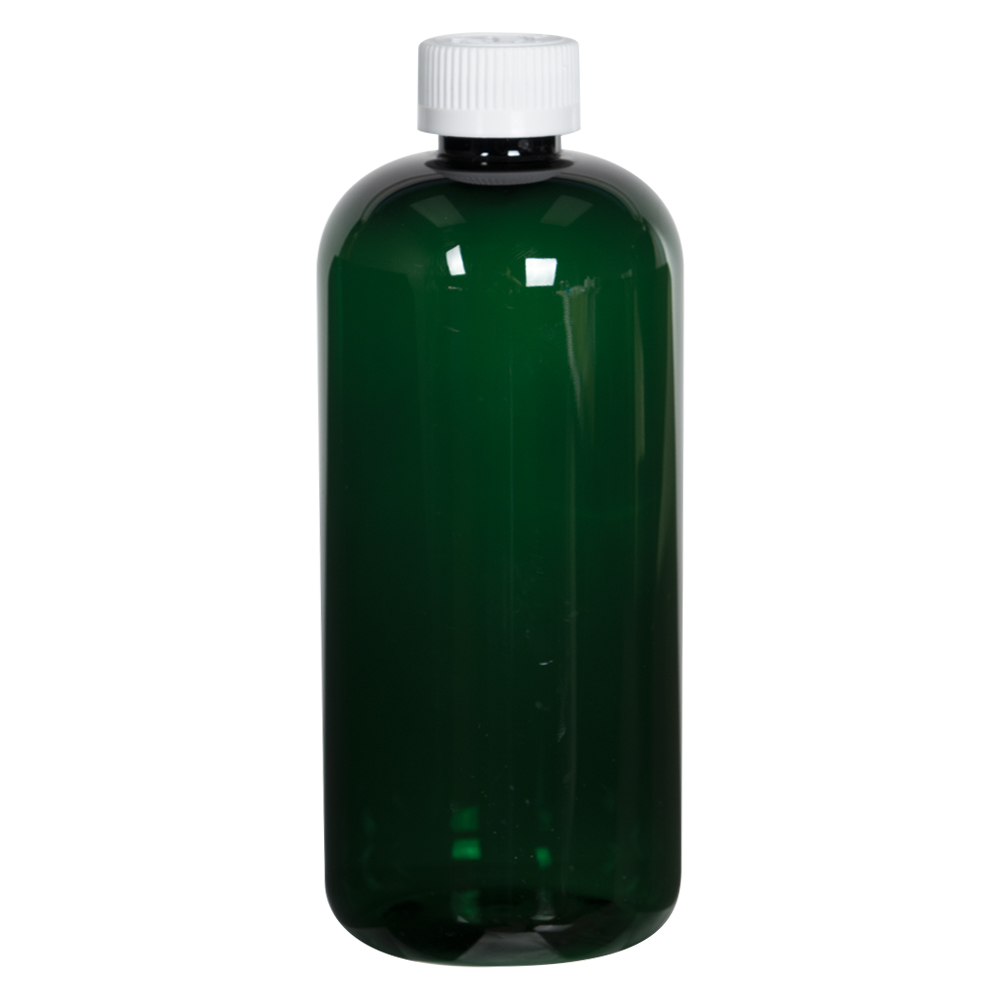 16 oz. Dark Green PET Traditional Boston Round Bottle with 24/410 CRC Cap