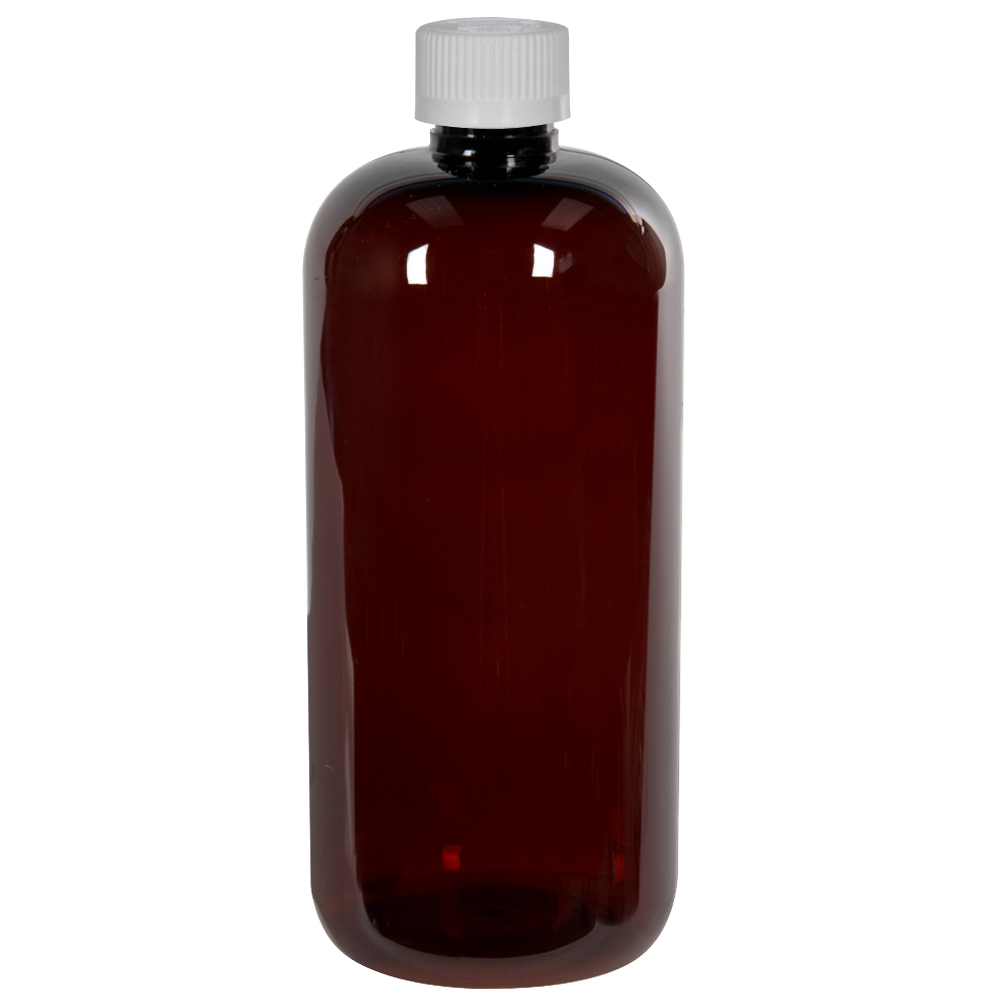 16 oz. Light Amber PET Traditional Boston Round Bottle with 28/410 CRC Cap