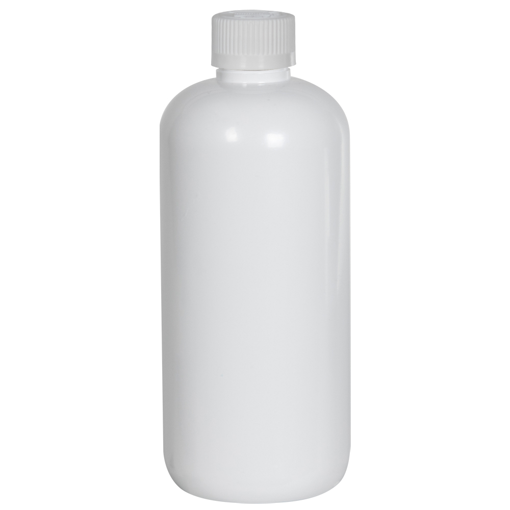 16 oz. White PET Traditional Boston Round Bottle with 28/410 CRC Cap
