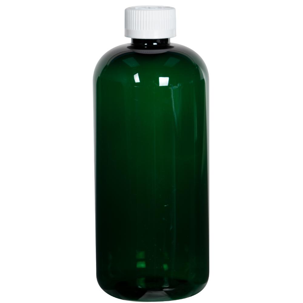16 oz. Dark Green PET Traditional Boston Round Bottle with 28/410 CRC Cap