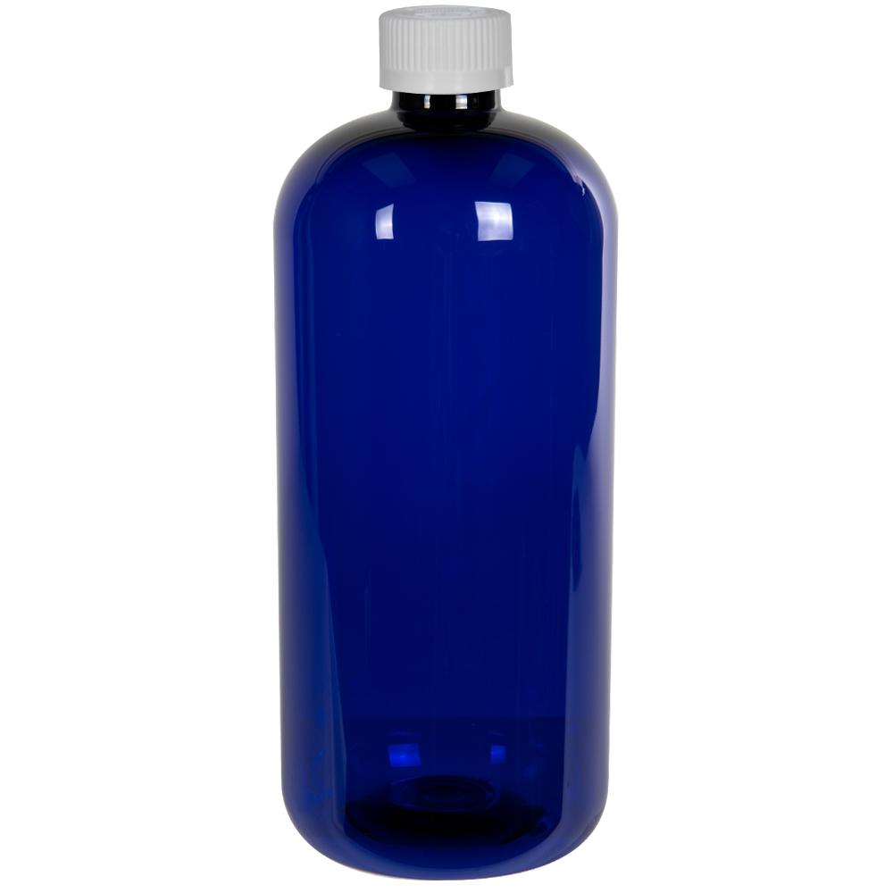 32 oz. Cobalt Blue PET Traditional Boston Round Bottle with 28/410 CRC Cap