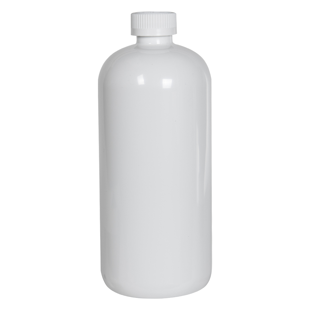 32 oz. White PET Traditional Boston Round Bottle with 28/410 CRC Cap