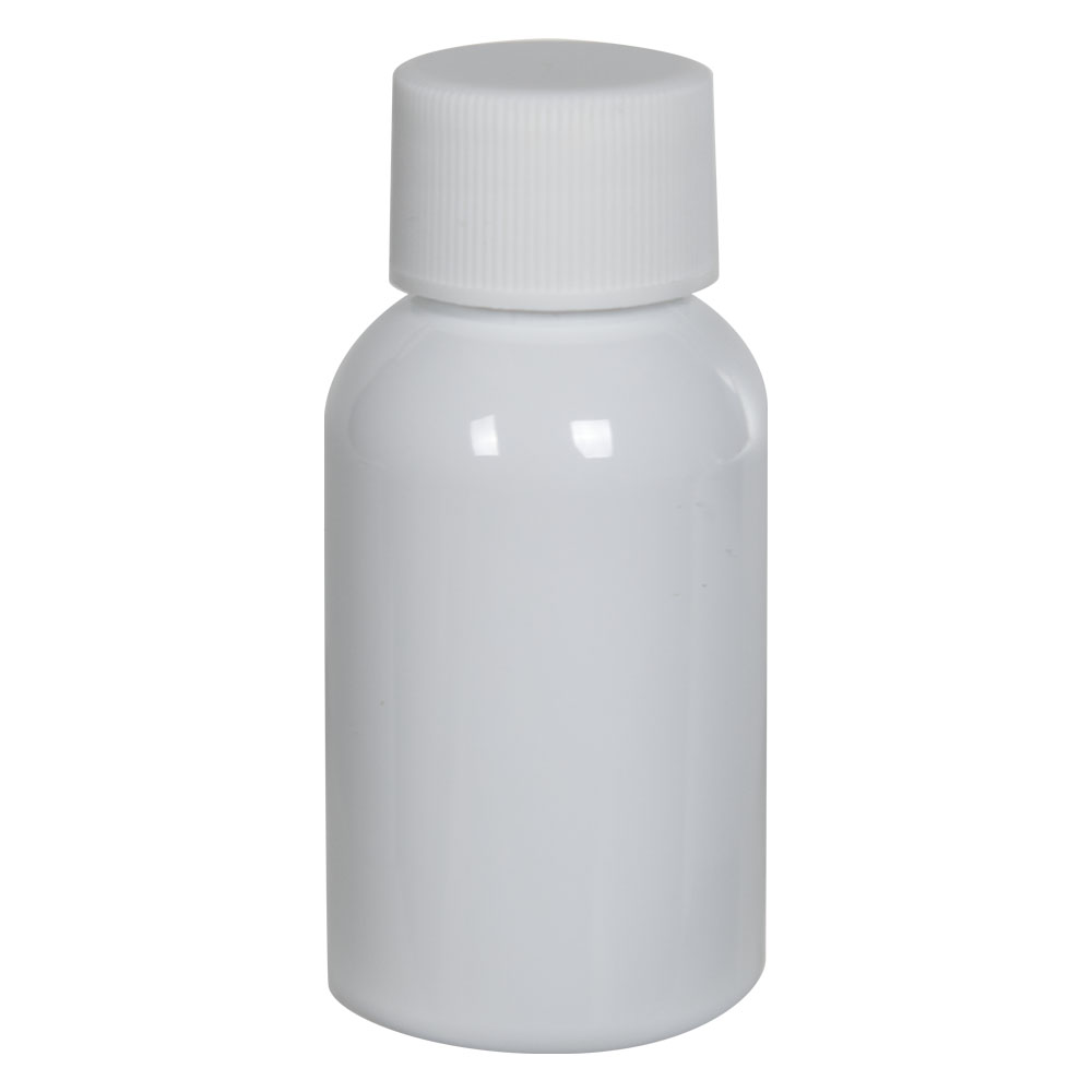 1 oz. White PET Squat Boston Round Bottle with 20/410 Plain Cap