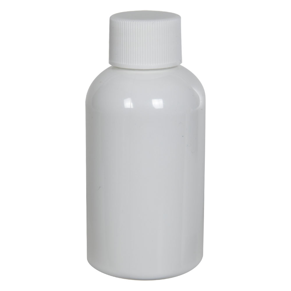 2 oz. White PET Squat Boston Round Bottle with 20/410 Plain Cap