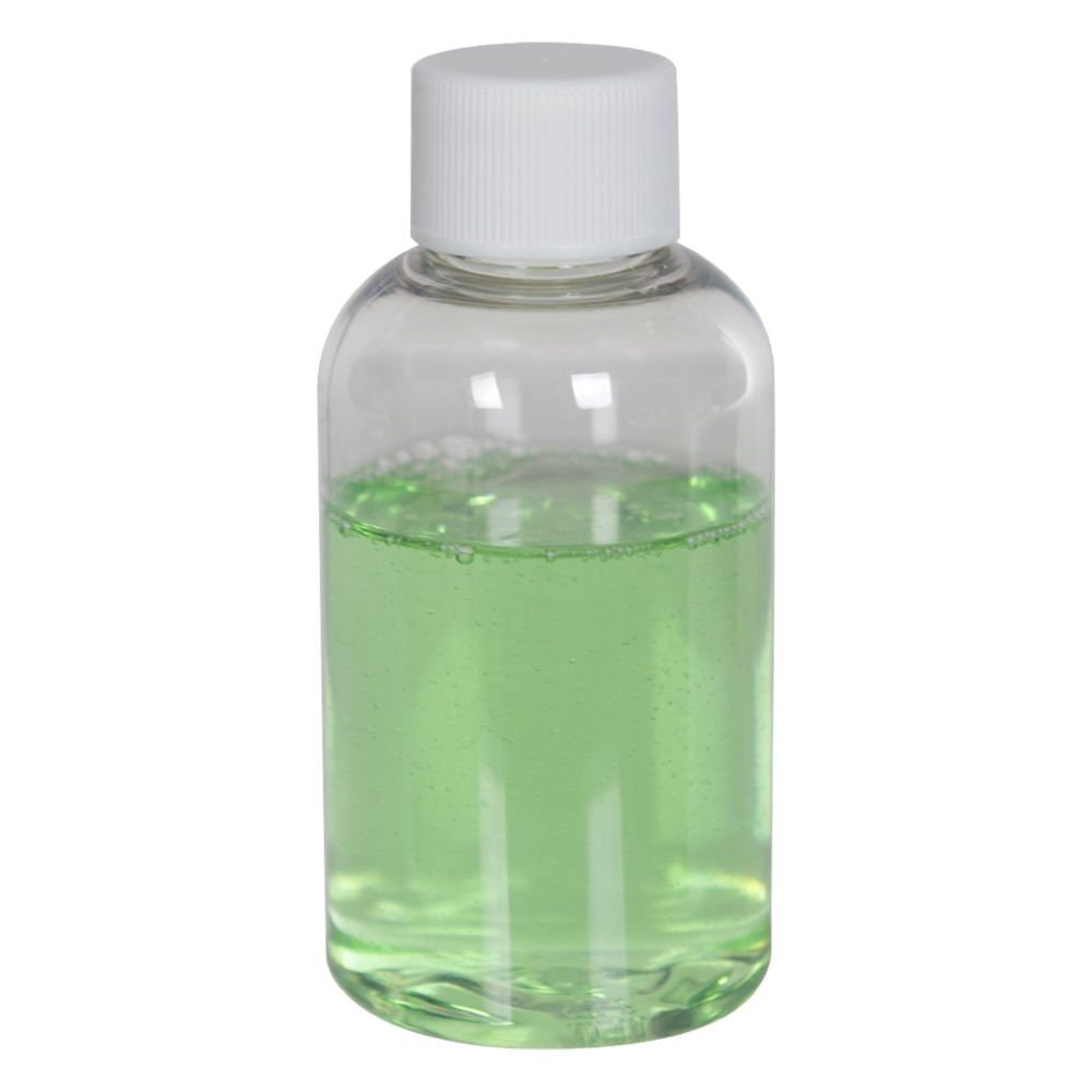 2 oz. Clear PET Squat Boston Round Bottle with 20/410 Plain Cap