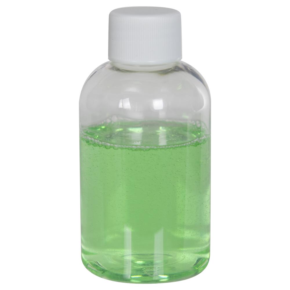 4 oz. Clear PET Squat Boston Round Bottle with 20/410 Plain Cap