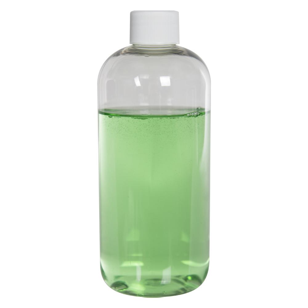 12 oz. Clear PET Squat Boston Round Bottle with 24/410 Plain Cap