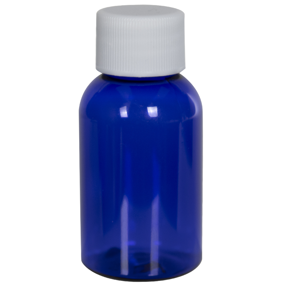 1 oz. Cobalt Blue PET Squat Boston Round Bottle with 20/410 Plain Cap with F217 Liner