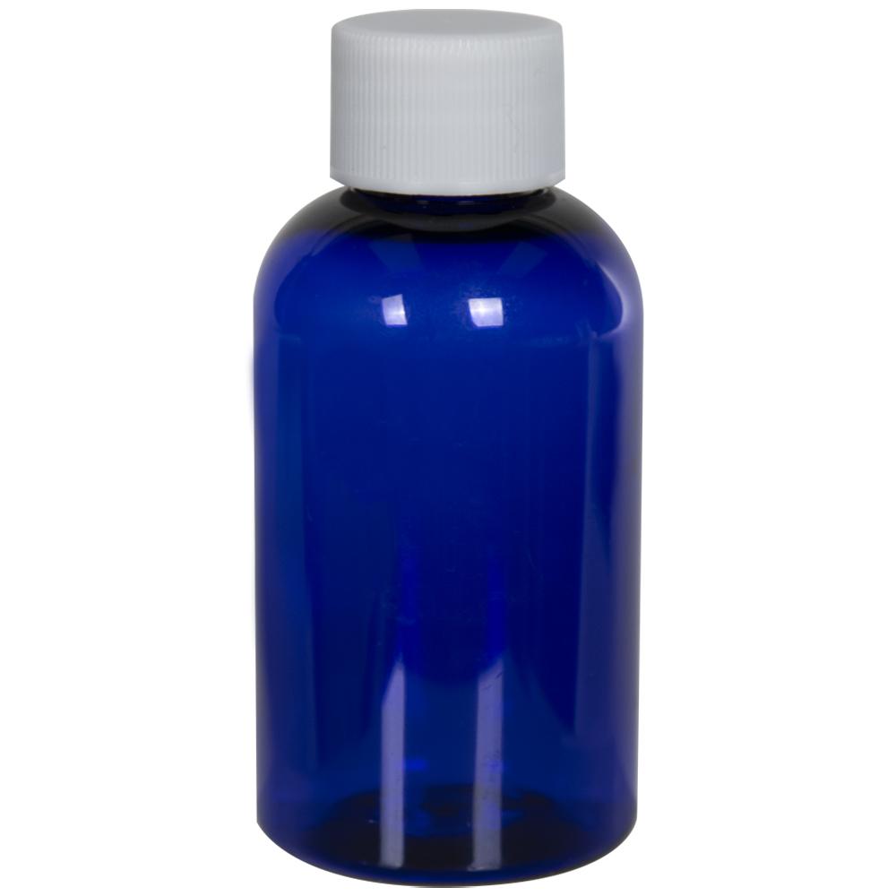 2 oz. Cobalt Blue PET Squat Boston Round Bottle with 20/410 Plain Cap