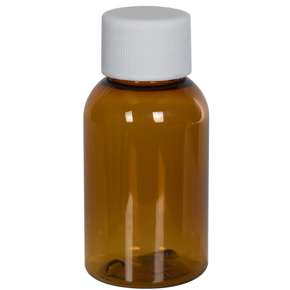 1 oz. Clarified Amber PET Squat Boston Round Bottle with 20/410 Plain Cap