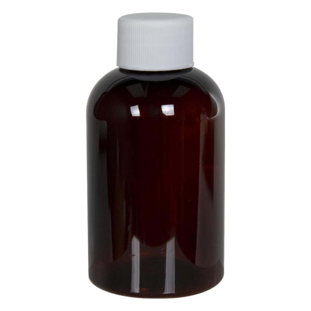 4 oz. Light Amber PET Squat Boston Round Bottle with 24/410 Plain Cap