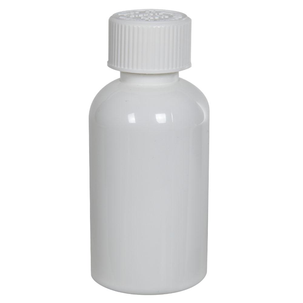 2 oz. White PET Squat Boston Round Bottle with 20/410 CRC Cap