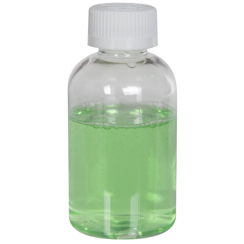4 oz. Clear PET Squat Boston Round Bottle with 20/410 CRC Cap with F217 Liner