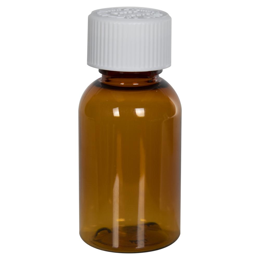 1 oz. Clarified Amber PET Squat Boston Round Bottle with 20/410 CRC Cap