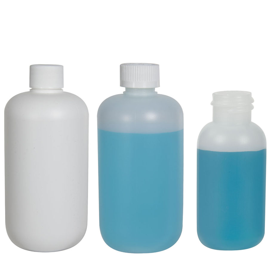 HDPE Boston Round Bottles with Plain Caps