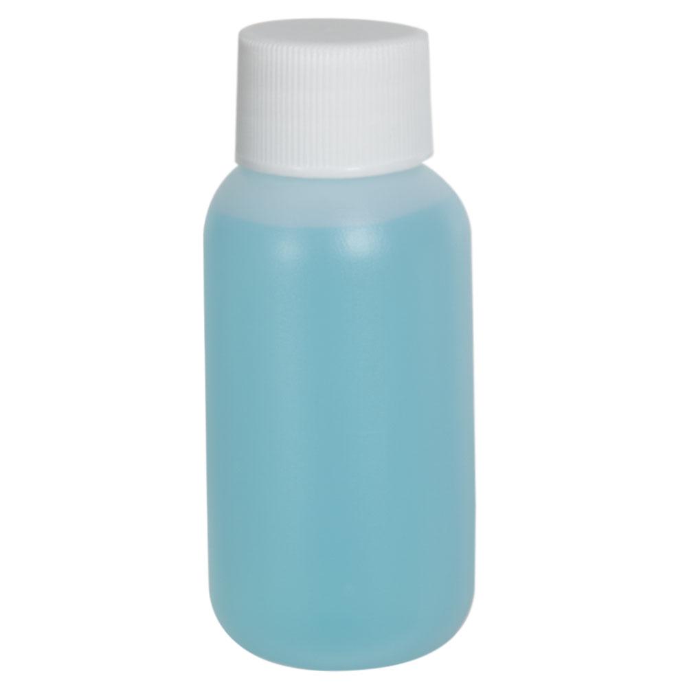 1 oz. HDPE White Boston Round Bottle with 20/410 Plain Cap
