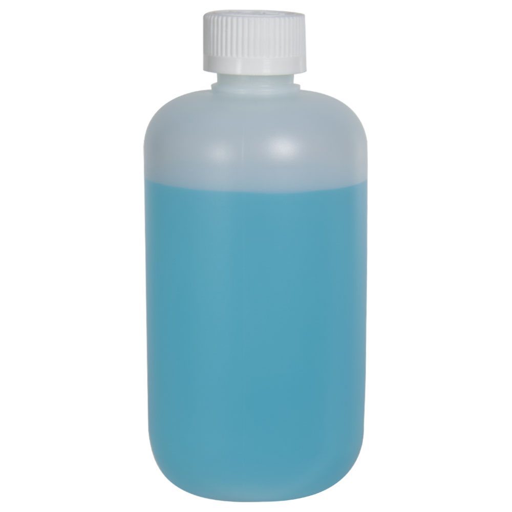 12 oz. HDPE Natural Boston Round Bottle with 24/410 CRC Cap