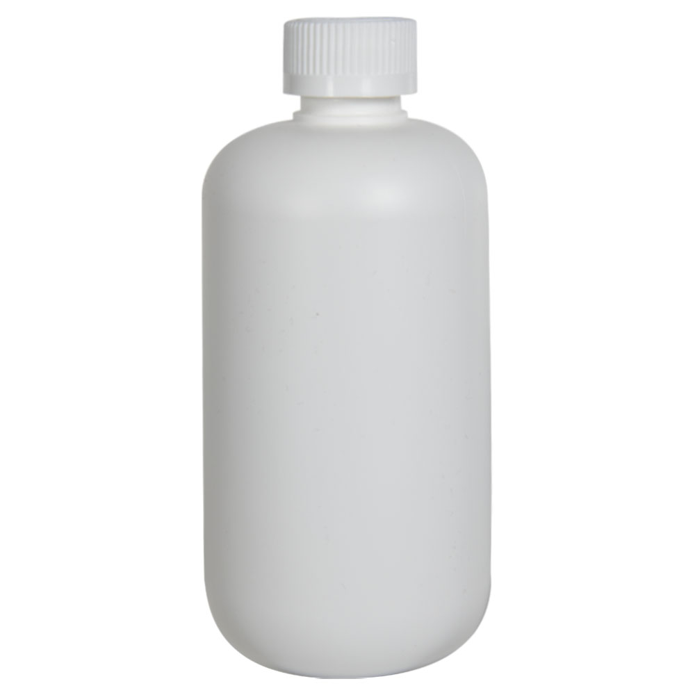 12 oz. HDPE White Boston Round Bottle with 24/410 CRC Cap