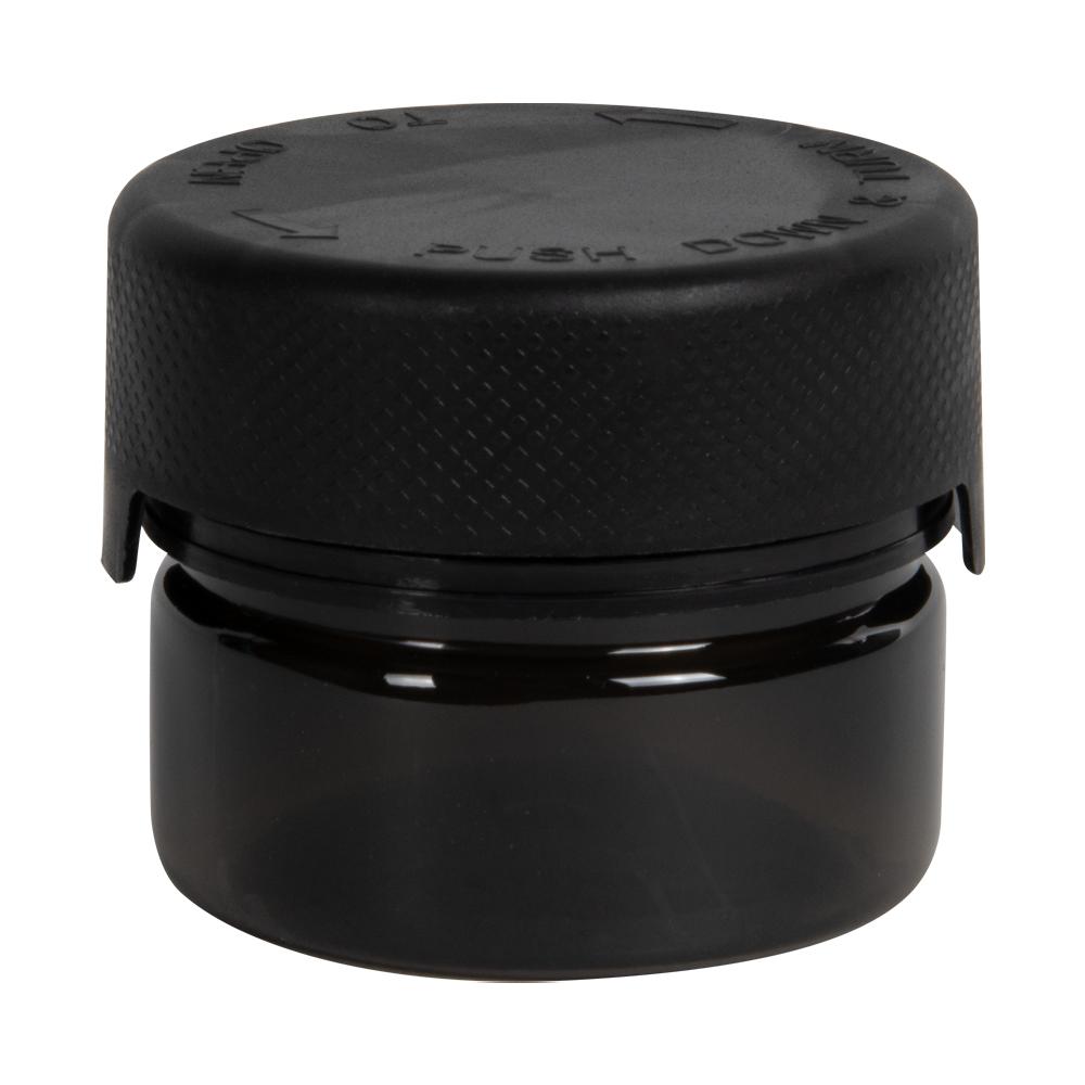 1 oz./30cc Translucent Black PET Aviator Container with Black CR Cap & Seal