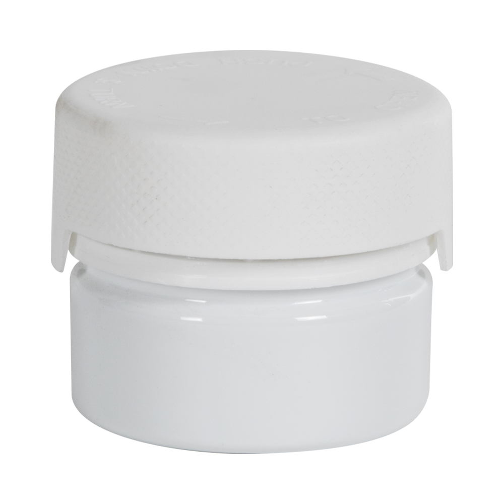 1 oz./30cc White PET Aviator Container with White CR Cap & Seal