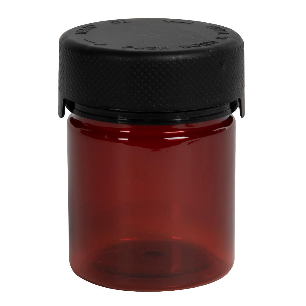 3 oz./90cc Translucent Amber PET Aviator Container with Black CR Cap & Seal