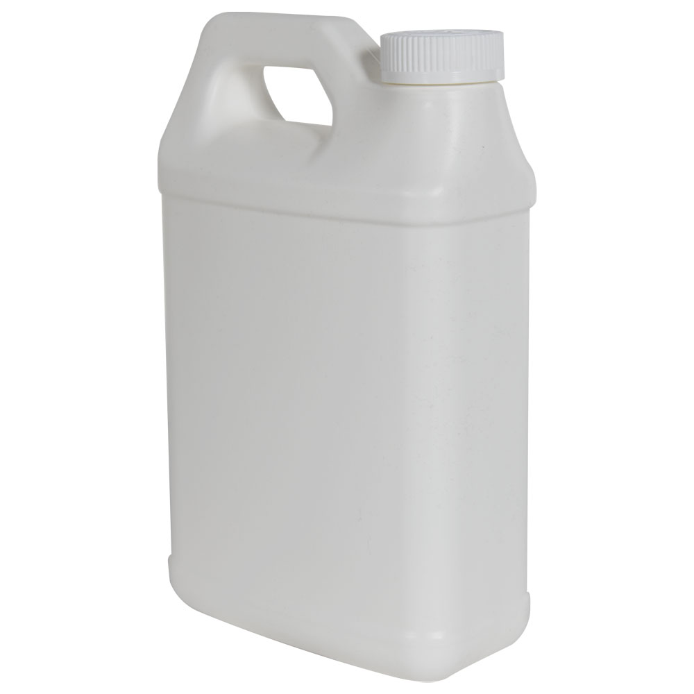 64 oz. White Fluorinated F-Style Jug with 38/400 CRC Cap