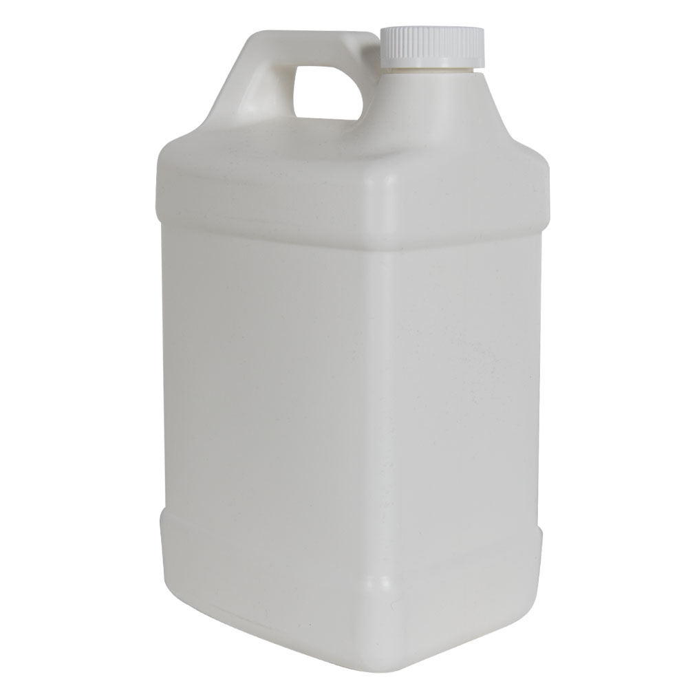 128 oz. White Fluorinated Squat F-Style Jug with 38/400 CRC Cap