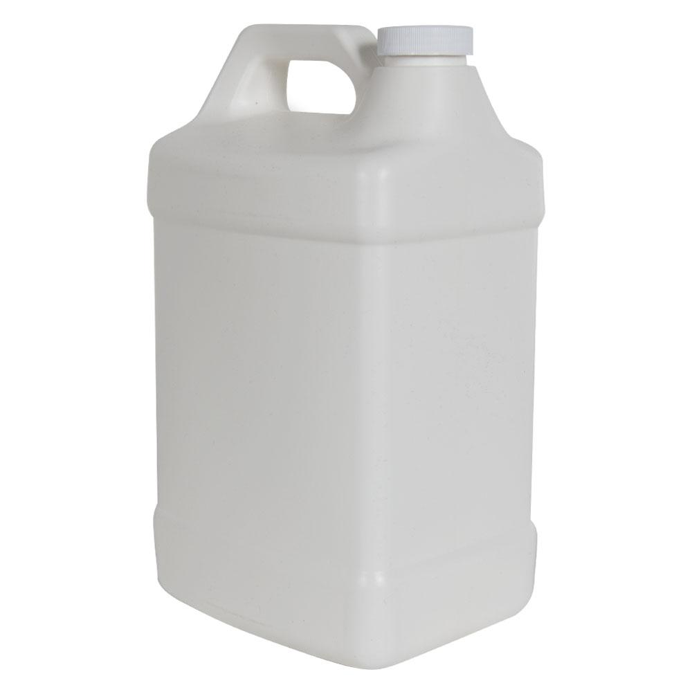 128 oz. White Fluorinated Squat F-Style Jug with 38/400 Plain Cap