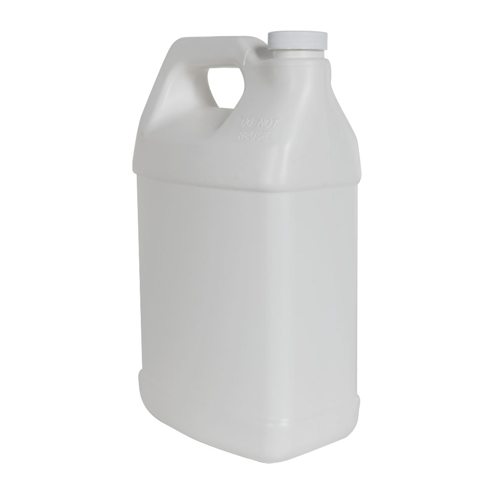 128 oz. White Fluorinated F-Style Jug with 38/400 Plain Cap
