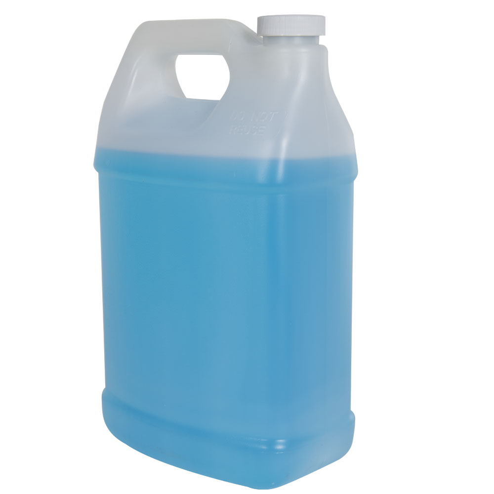 128 oz. Natural Fluorinated F-Style Jug with 38/400 Plain Cap