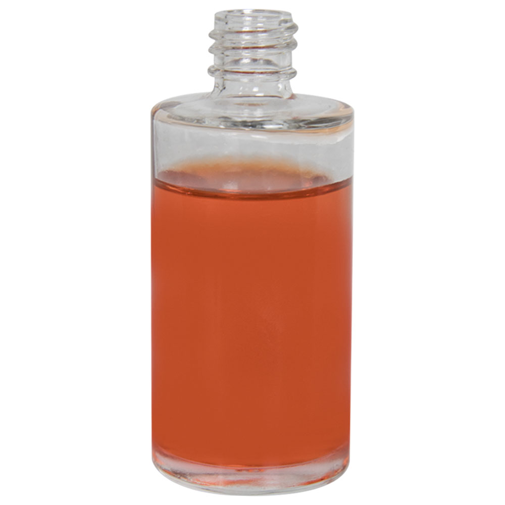 2 oz. Clear Stubby Cylinder Glass Bottle with 18/415 Neck (Cap Sold Separately)