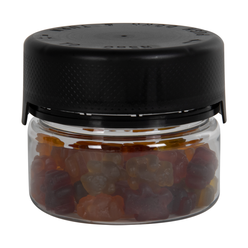 7.5 oz./225cc Clear PET Aviator Container with Black CR Cap & Seal
