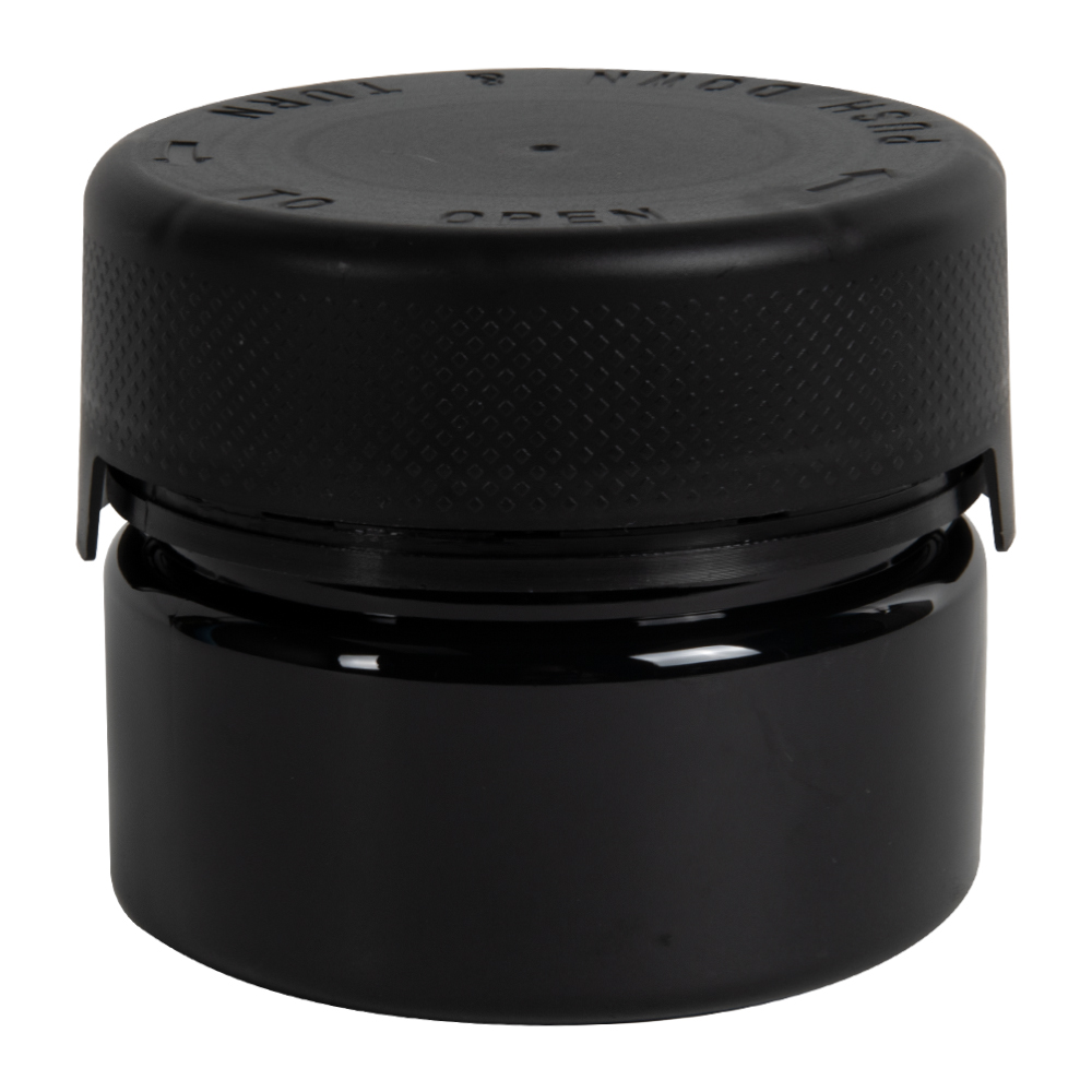 7.5 oz./225cc Black PET Aviator Container with Black CR Cap & Seal