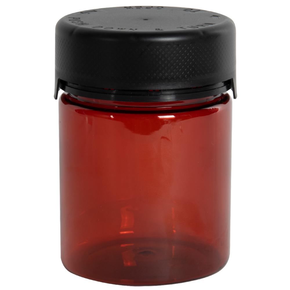 18.5 oz./550cc Translucent Amber PET Aviator Container with Black CR Cap & Seal