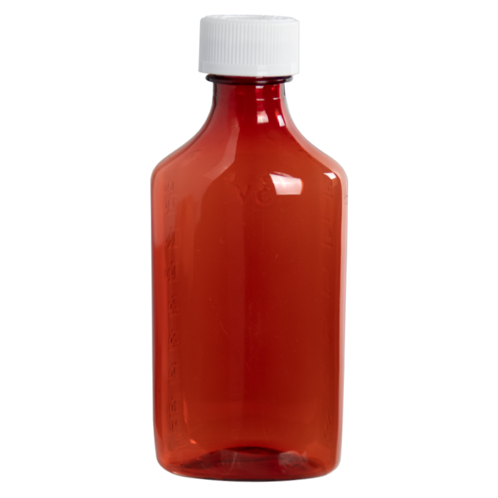 6 oz. Amber Oval Liquid Bottle with 24mm CR Cap