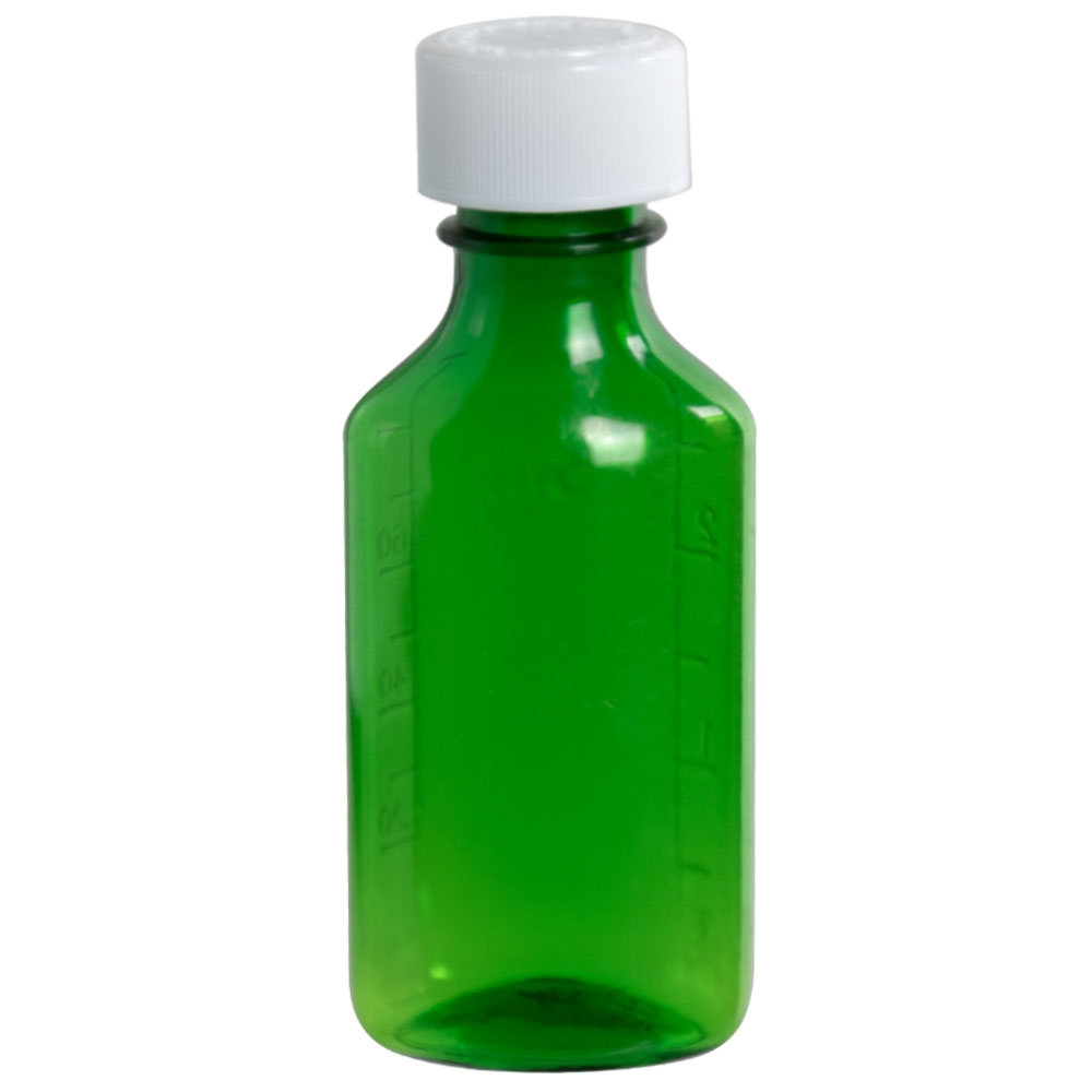 3 oz. Green Oval Liquid Bottle with 24mm CR Cap