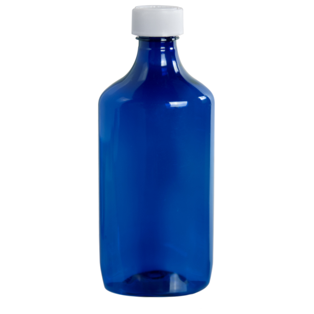 16 oz. Blue Oval Liquid Bottle with 28mm CR Cap