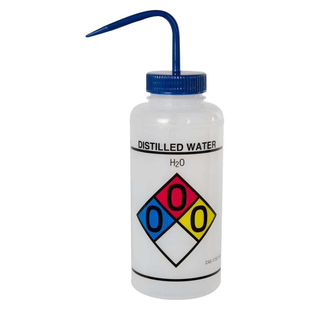 1000mL (32 oz.) Scienceware® Distilled Water Wide Mouth Safety-Labeled Wash Bottle with Blue 53mm Cap