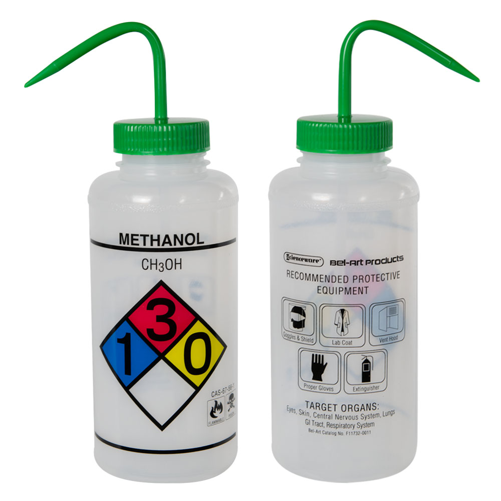 1000mL Scienceware® Methanol Wide Mouth Safety-Labeled Wash Bottle