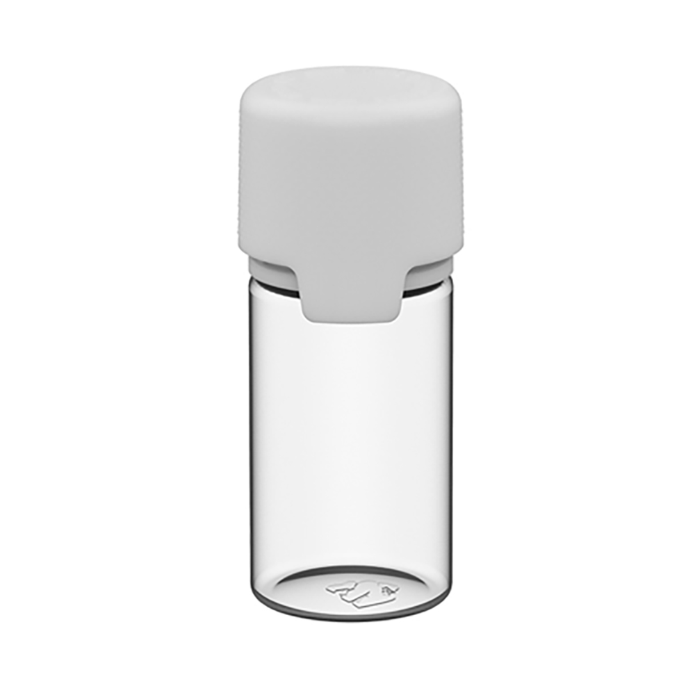 30mL Clear PET Stubby Aviator Bottle with White CR Cap & Seal