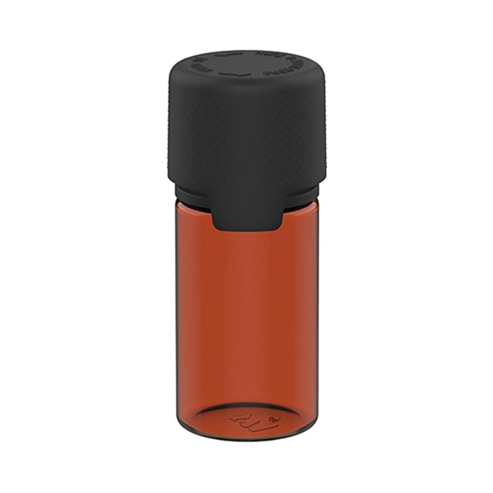 30mL Translucent Amber PET Stubby Aviator Bottle with Black CR Cap & Seal
