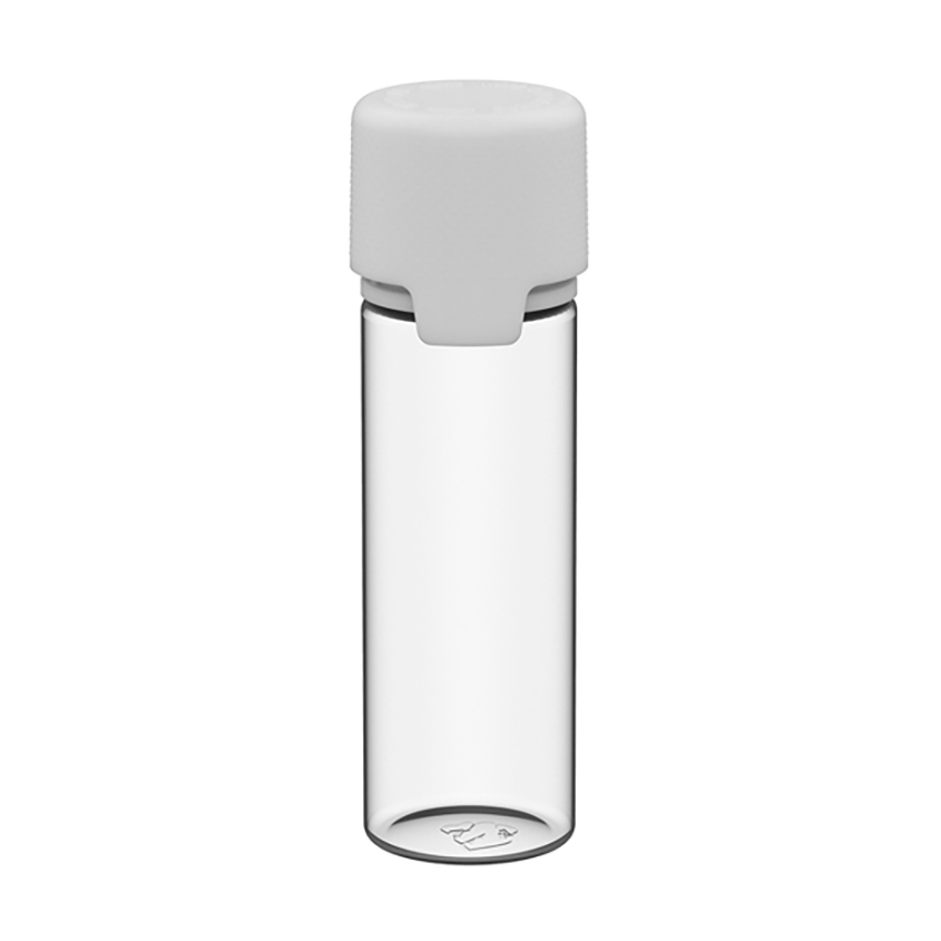 50mL Clear PET Aviator Bottle with White CR Cap & Seal